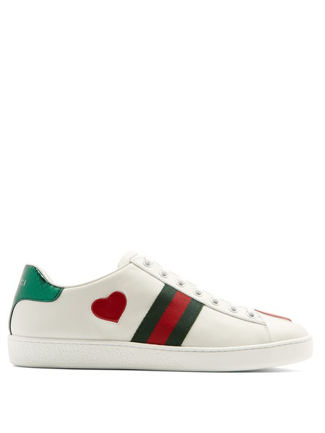 gucci top heart new leather white