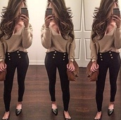blouse,top,sweater,long sleeves,nude,brown,sexy shirt,sexy,high bottoms,jeans,black,pants,bottoms,classy,bag,high,heels,high waisted,denim,skinny,black pants,jewels,t-shirt,lace up,crochet,high heels,iphone,smartphone,high waisted jeans,high waisted pants,leggings,denim shirt,skinny pants,gold sequins,style