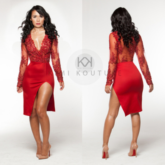 dress kimi kimikouture red dress lace dress red lace dress beaded fabric beaded dress clubwear wedding dress high slit kimi kouture high slit dress deep v neck dress red bottom heels red bottoms pigalle 120 nude high heels see through dress
