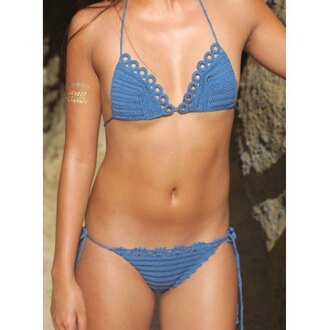 swimwear bikini summer beach fashion blue style crochet sexy trendy tan rose wholesale-jan