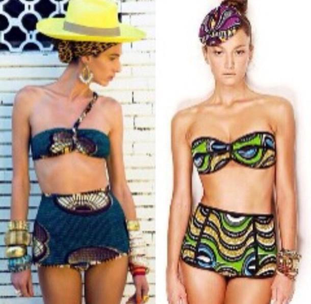 swimwear  african print  high waisted bikini