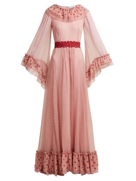 Luisa Beccaria - Polka Dot Print Silk Chiffon Gown - Womens - Pink Multi