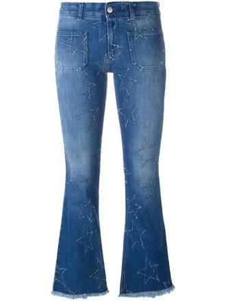 jeans flare women cotton blue