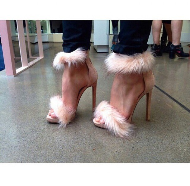 nude high heels fluffy shoes