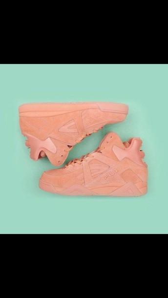 82798763bae4 shoes sneakers nude pink fila urban pastel pink suede sneakers high top  sneakers