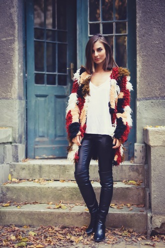 venka vision blogger leather pants fuzzy coat black leather pants black pants pants fluffy top white top multicolor