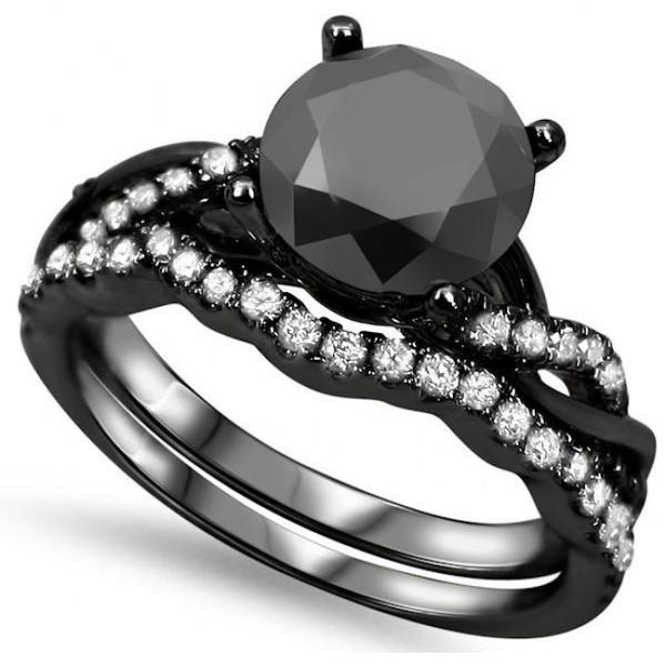 Jewels black round diamond ring black and white diamond wedding ring set e