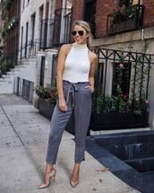 pants,cropped pants,silk,pumps,bodysuit,aviator sunglasses