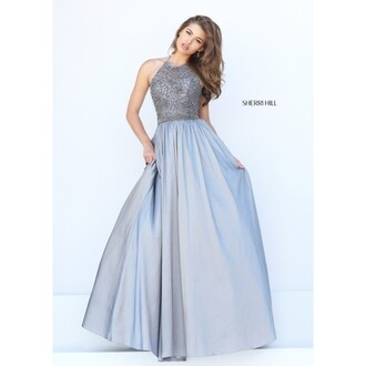 dress a line dress sherri hill gunmetal halter dress prom dress