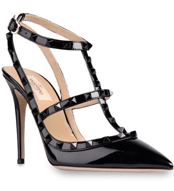 3e61e19e461 Valentino Rockstud 100mm All Black Patent Leather T-Strap Sandal ...