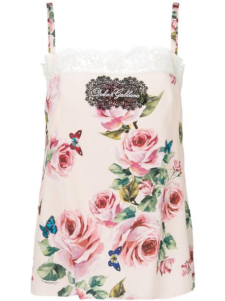 Dolce & Gabbana camisole women spandex floral cotton silk purple pink underwear