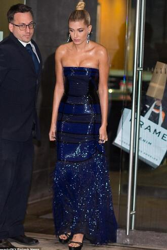 dress gown prom dress prom gown hailey baldwin strapless dress sequins sequin dress navy dress navy