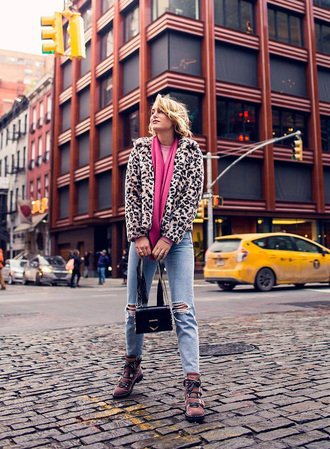 shoes tumblr boots pink boots jacket leopard print fur jacket scarf bag denim jeans blue jeans ripped jeans