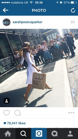 dress white satc white dress sarah jessica parker