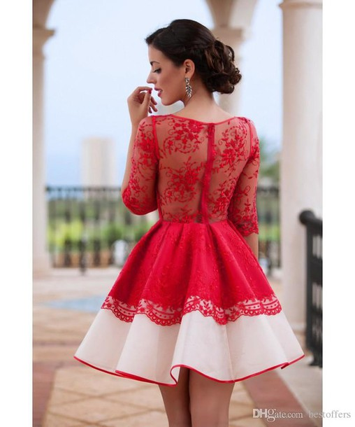 Dress Red Dress Homecoming Dress Sheer Lace Dress Wheretoget