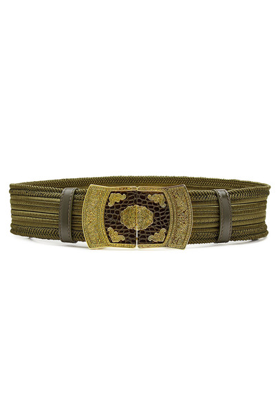 embroidered belt green