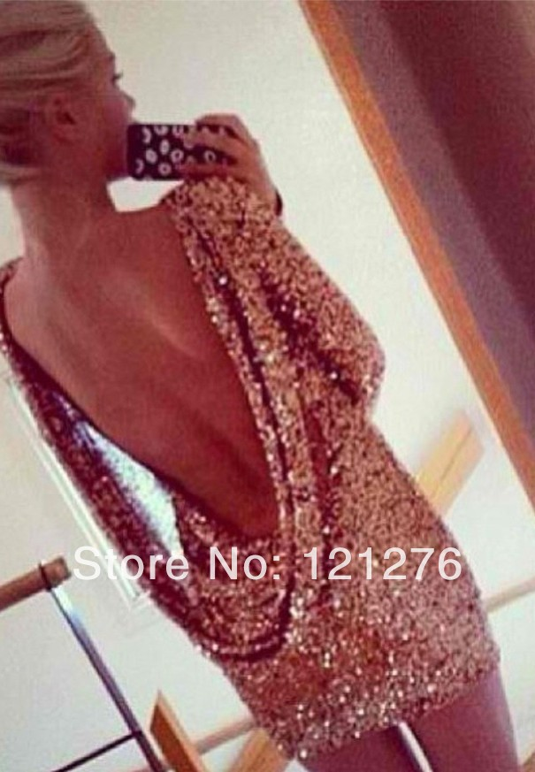 New Arrival Wholesale , Fashion Hot Sale Halter Back Sequin Dress Long Sleeve Backless Bodycon Party Dress-in Apparel & Accessories on Aliexpress.com