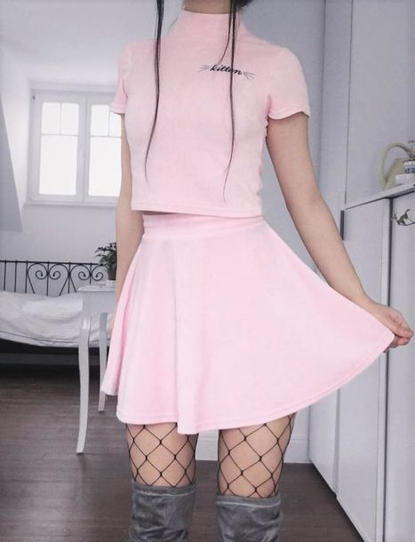 top pink cute pastel pastel pink urban pastel pink cute outfits cute top fishnet tights pink skirt thigh high boots thigh highs grey thigh high boots skirt