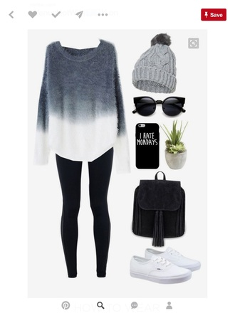 sweater cute ombre ombre sweater black white black and white sweater