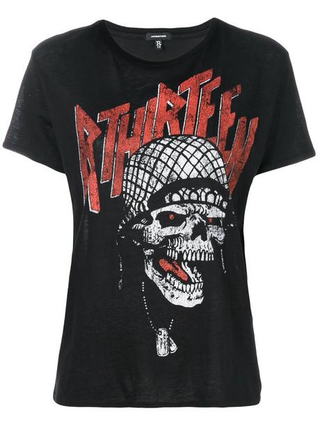 R13 - skull print T-shirt - women - Cotton/Cashmere - M, Black, Cotton/Cashmere