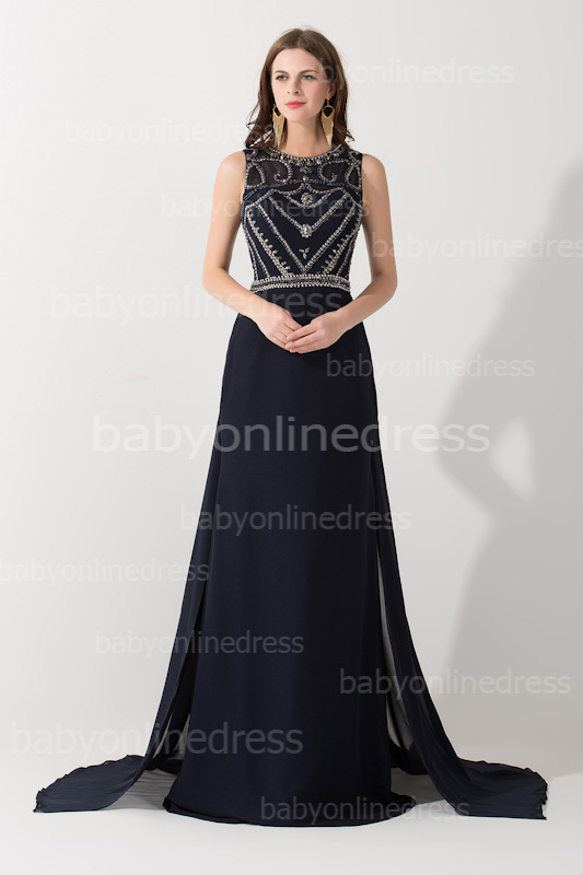 Aliexpress.com : buy robe de soiree 2015 new sexy sleeveless scoop neckline dark navy chiffon beaded evening dresses long prom gowns from reliable dress products suppliers on 27 dress