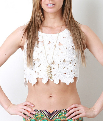 White Sleeveless Hollow Floral Crochet Vest - Juicy Wardrobe