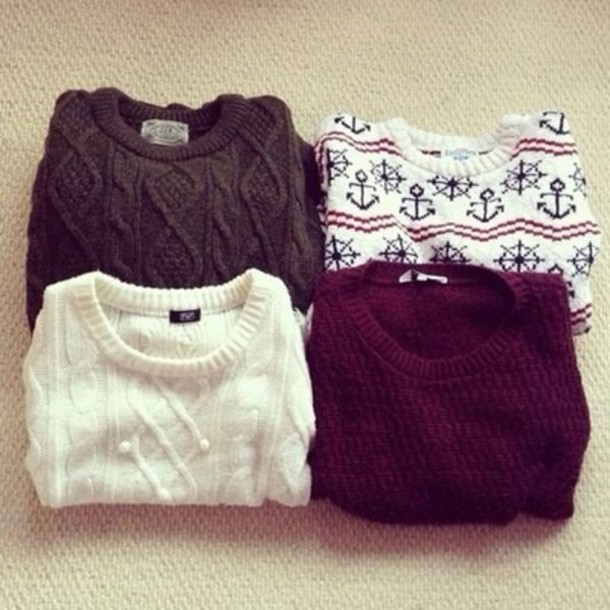 Sweater: cable knit, knitted sweater, burgundy sweater, anchor ...