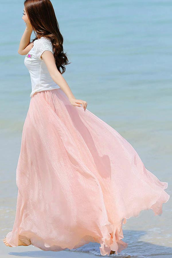 Solid Color Versatile Elastic Waistband Chiffon Maxi Skirt