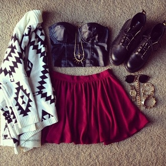 skirt knitted sweater sweater tank top shoes red pink leather frantic jewelry cardigan jumper sunglasses aztec faux leather boots bracelets