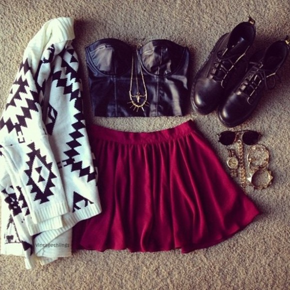 skirt sweater frantic jewelry red pink leather cardigan jumper sunglasses knit sweater tank top shoes bracelets aztec faux leather boots