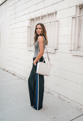 pants tumblr black pants side stripe pants top sleeveless sleeveless top grey top bag white bag