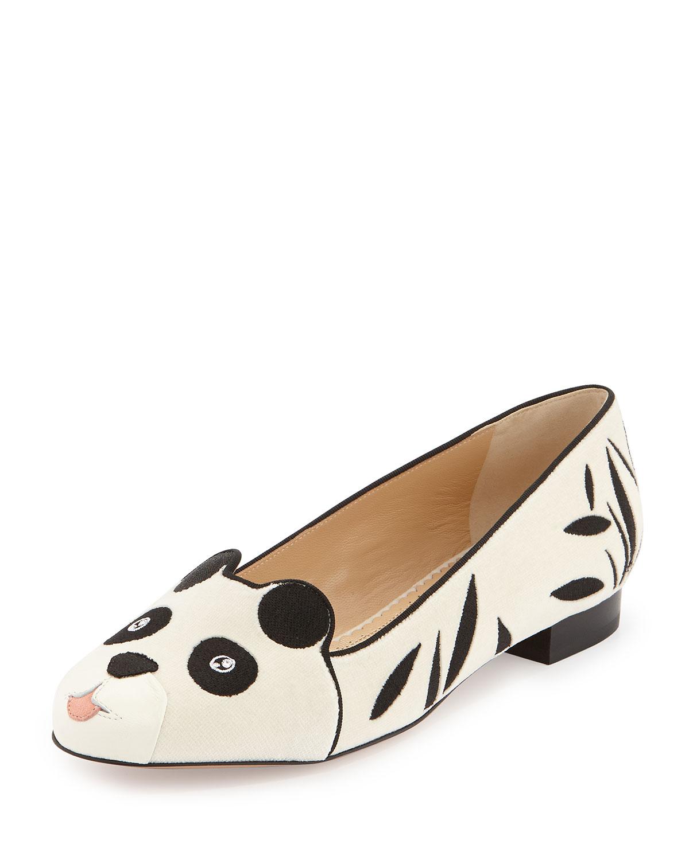 Panda Velvet Flat, White