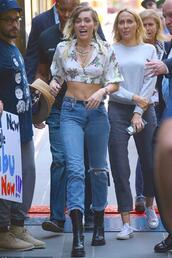 blouse,top,crop tops,jeans,miley cyrus,streetstyle,spring outfits,jewels,jewelry,celebstyle for less,celebrity,necklace,layered,choker necklace