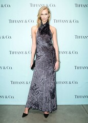 dress,silver,metallic,gown,prom dress,karlie kloss