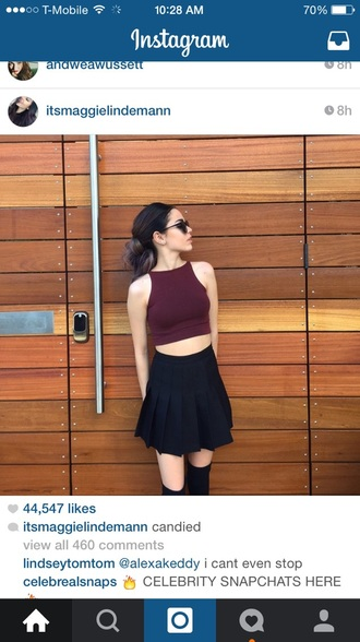 skirt maggie lindemann black skirt top crop tops american apparel