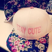 hat,stay cute,white,pink,snapback,floral,cap,cute,flowers,rose,girly,stay,sweet,girl,fashion,cool,beautiful,black,pretty,swag,green,summer,spring,accessories,hair accessory,festival,music festival,coachella,instagram,colorful,hipsta,roses,staycute,lovely