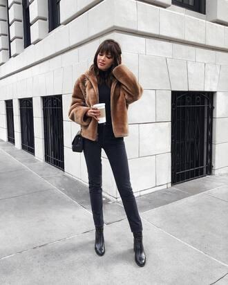 jacket tumblr brown jacket fur jacket faux fur jacket jeans denim black jacket boots black boots