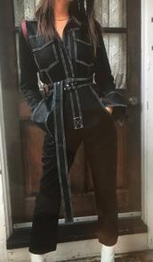 jumpsuit,emily ratajkowski emrata model instagram m,denim jumpsuit