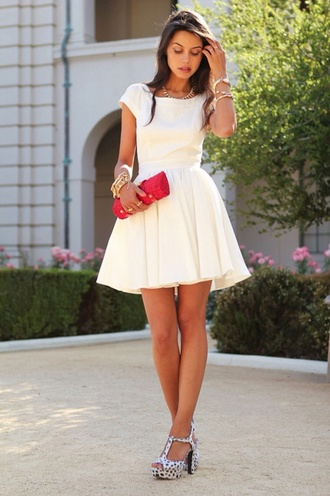 dress white dress short dress white graduation dress open back skater dress