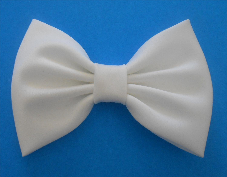 White Satin Hair Bow 55472b5f45e