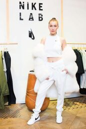 top,crop tops,sweatpants,sneakers,fur,nike,bella hadid,ny fashion week 2017,nyfw 2017