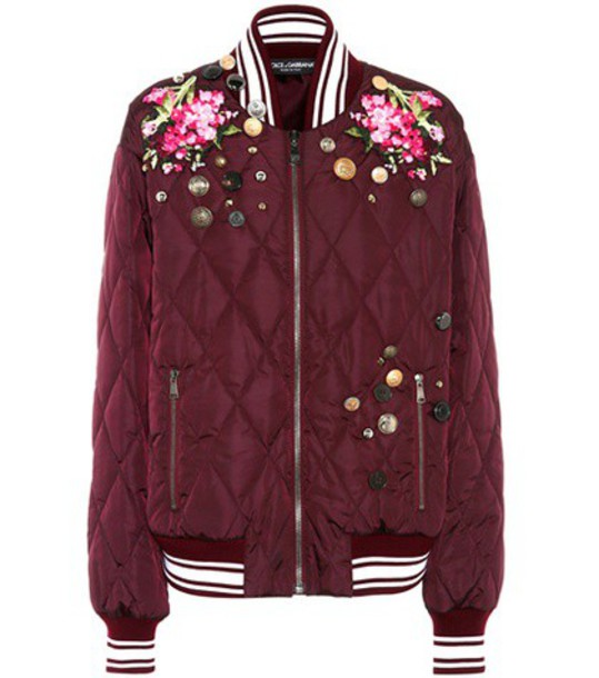 Dolce & Gabbana Embroidered bomber jacket in purple