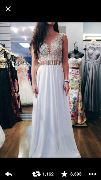 dress prom dress white prom dress lace dress gold belt