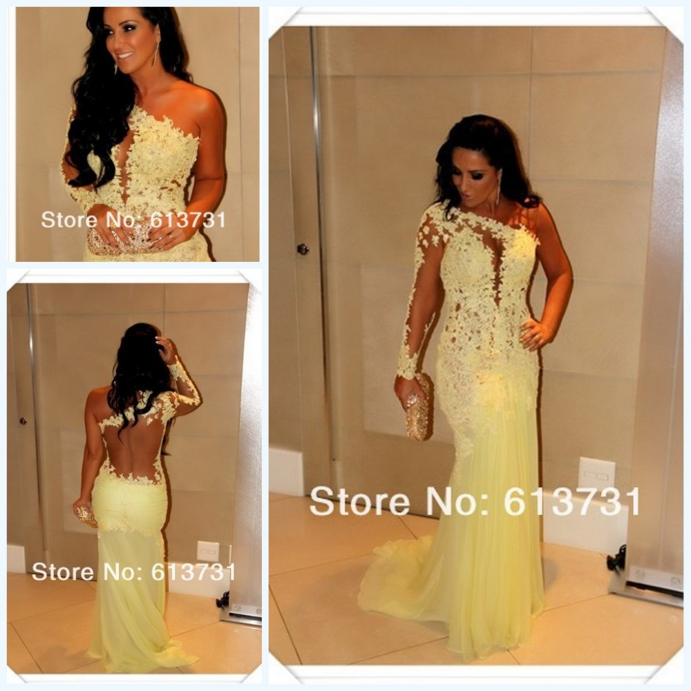 Marianne Rabelo vestidos de festa One Shoulder Yellow Lace Sheer Back 2013 Long Sleeve Celebrity Dresses Long Evening Party Gown-in Celebrity-Inspired Dresses from Apparel & Accessories on Aliexpress.com