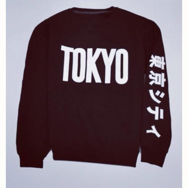 sweater japanese tokyo sweatshirt black