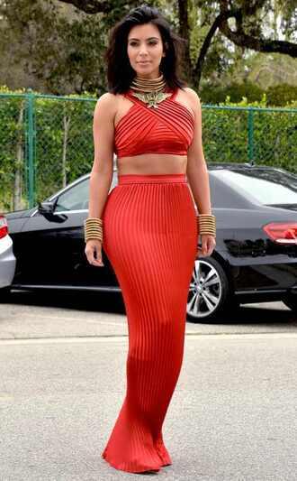 skirt kim kardashian burnt orange two-piece long skirt crop tops