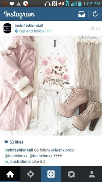 jacket fall outfits winter outfits cute lovely oversized kawaii knit pink socks heels