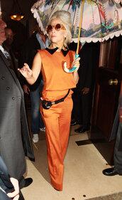 pants,orange suit,lady gaga,orange