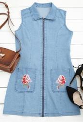 dress,embroidered,girly,blue,denim,denim dress,zip,zipper dress,bodycon dress,bodycon,sleeveless
