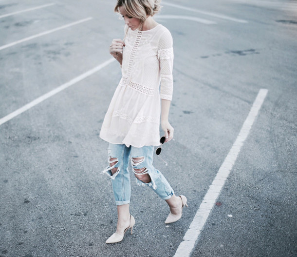 happily grey blogger ripped jeans white dress spring outfits